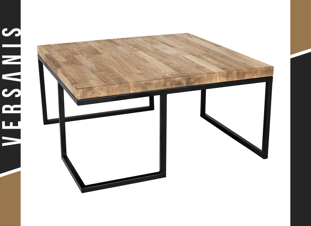 A Metal Table With A Wooden Top Loft